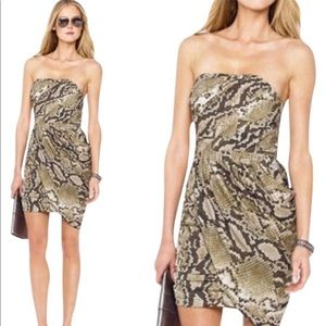 Michael Kors Strapless Python Dress Draped 6